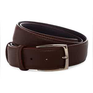 Chocolate Brown Novak Soft Textured Leather Belt with Silver Buckle