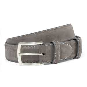 Grey Suede Belt With Silver Buckle