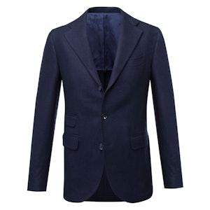 Navy Blue Single-Breasted Cashmere Jacket