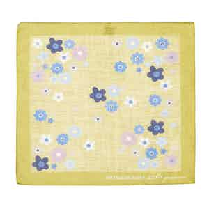 Light Blue and Yellow Tiglio Floral Pattern Cotton Pocket Square
