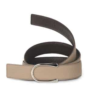 Soft Grey and Ebony Bull-Calf Palladium-Buckle Belt