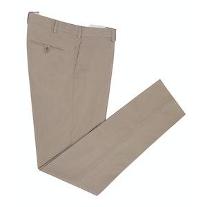 Beige Straight Leg Cotton Trousers