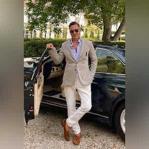 AK MC Unstructured Tennis Blazer Grey