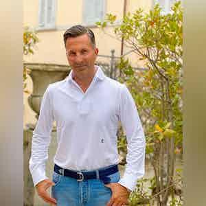 AK MC White Cotton Long-Sleeved Polo Shirt
