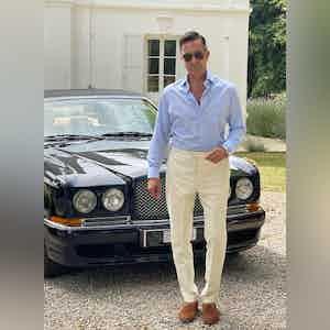 AK MC Cotton and Linen Twill Riviera Trousers Cream
