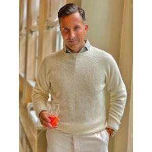 AK MC pure summer Cashmere  Off-White Crewneck Sweater