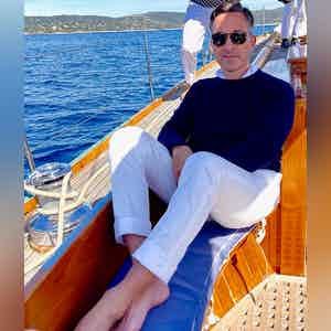 AK MC Pure Summer Cashmere Navy Crewneck Sweater