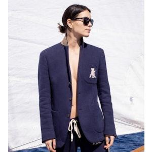 AK MC Navy Cotton Fleece Deconstructed Ladies Tennis Blazer