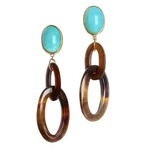 Blue Natural Horn Maia Earrings