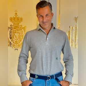 AK MC Silver Grey Cotton Long-Sleeved Polo Shirt