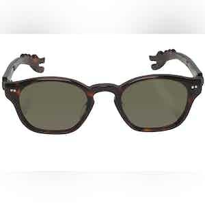 Michael Brown Tortoise Shell Dino Arm Green Lens Sunglasses