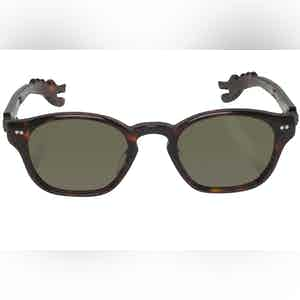 Michael Brown Tortoise Shell Dino Arm Green Lens Sunglasses