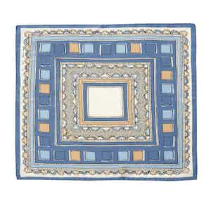 Blue and Cream Valle Square Pattern Silk and Cotton Pocket Square