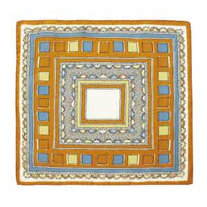 Blue and Orange Valle Square Pattern Silk and Cotton Pocket Square