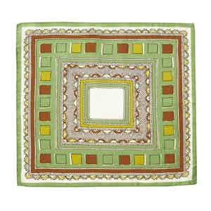 Green and Brown Valle Square Pattern Silk and Cotton Pocket Square