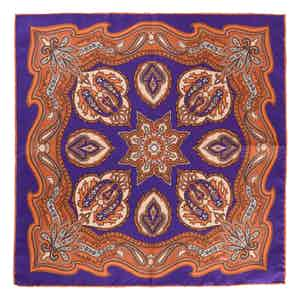 Orange Violet Chianti Silk Pocket Square
