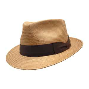 Waits Chestnut Brown Toquilla Palm Straw Hat