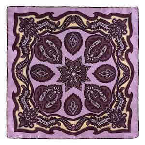 Purple Wild Strawberry Silk Pocket Square