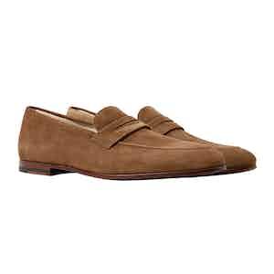 Tobacco-Brown Suede Marzio Loafers