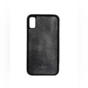 Black Goatskin Leather iPhone X Case