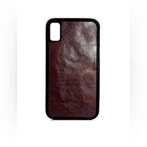 Dark Brown Oiled Calfskin Leather iPhone X Case