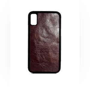 Dark Brown Oiled Calfskin Leather iPhone X Case