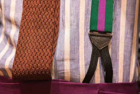 Luca's striped braces bring together his jacket and trousers. His knitted silk tie features a special weave for Rubinacci and again, Luca's ethos suggests that elegance has to come naturally: 'I tie my tie as I feel in the morning - if you feel it, wear it!'
