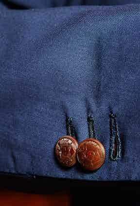 Mariano's blazer buttons are made especially for Rubinacci in polished corozo. A bespoke yachting club blazer commissioned by a customer inspired the design.