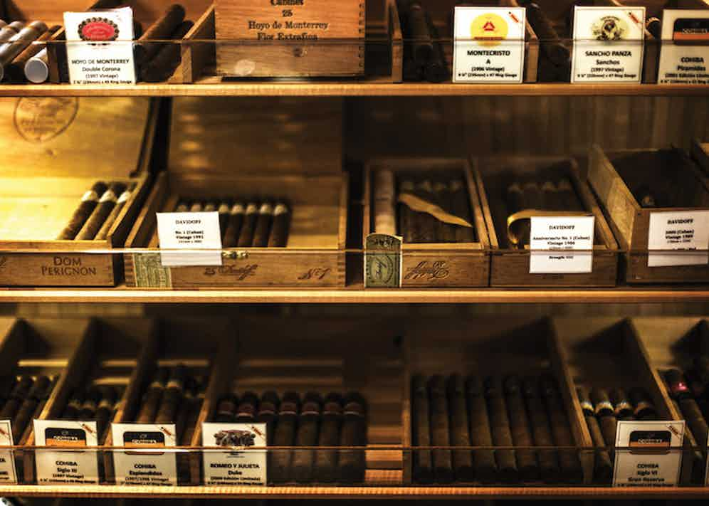 A selection of cigars in the humidor.