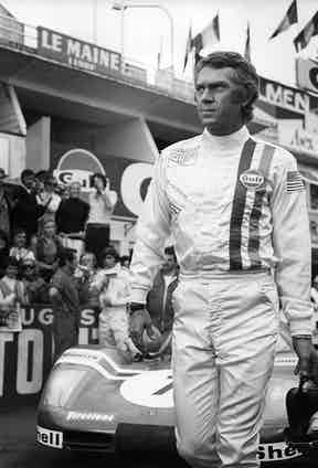 McQueen in his racing gear during filming of Le Mans, 1971.