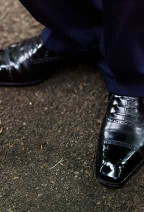 Black leather bespoke Cleverly shoes.