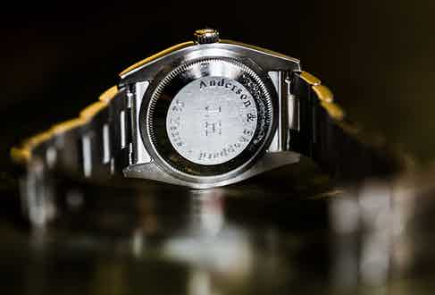 John's Rolex given to him by Anderson & Sheppard on his retirement last year.