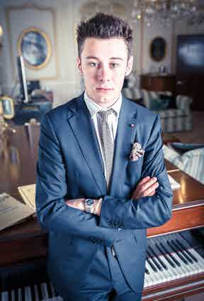 Max wears Zegna suit with a Rubinacci tie & lapel pin, New and Lingwood shirt & vintage Church's shoes.