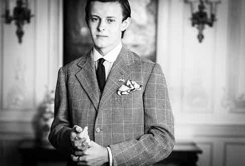 Freddie wears Budd shirt with New and Lingwood shirt collar, vintage tie, Sandon and co. Savile Row (1935) suit & vintage Church's shoes.