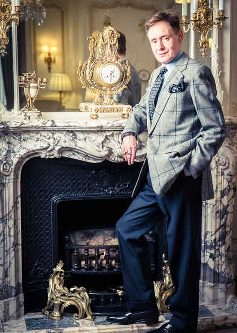 Nick wears Huntsman by Terry Haste jacket, Budd shirt, Charvet Tie and pocket handkerchief, Terry Haste trousers & Eric Cook shoes.