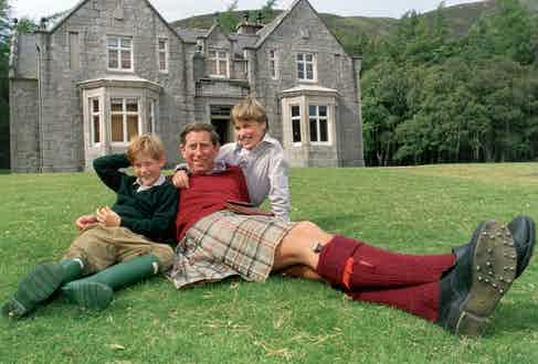 Prince Charles pictured with Prince William and Prince Harry at Birkhall.