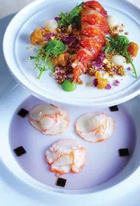 'Bleu de Homard', with pickled cauliflower couscous and cooked mustard seeds, is a perfect marriage of colour and texture served with fresh lobster.