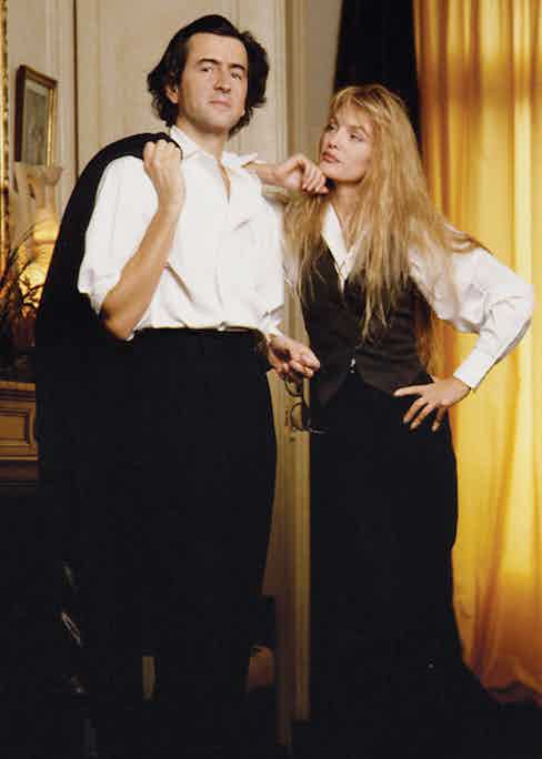 Levy with his wife, Arielle Dombasle in their Paris home.