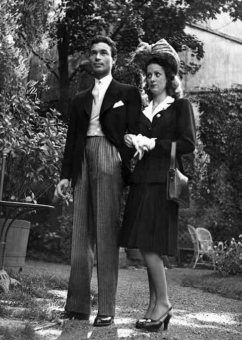 Playboy cum-diplomat Porfirio Rubirosa and the French actress Danielle Darrieux whom he had just married at the town hall of Vichy on 26 September 1942.
