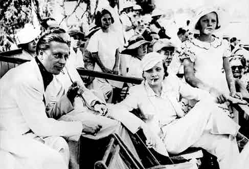 Dietrich with husband Rudolf and daughter Maria at a polo game in Los Angeles.