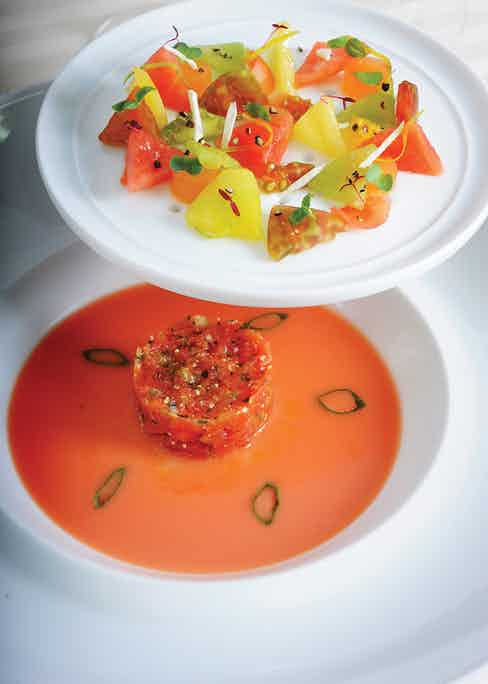 The 'Autour des Tomates' dish is an incredibly imaginative duo of dishes presenting eight varieties of the humble tomato.