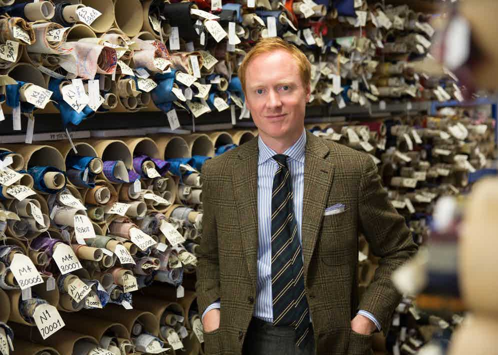 Michael Hill, MD of Drake's London, backed by his extraordinary silk archive.
