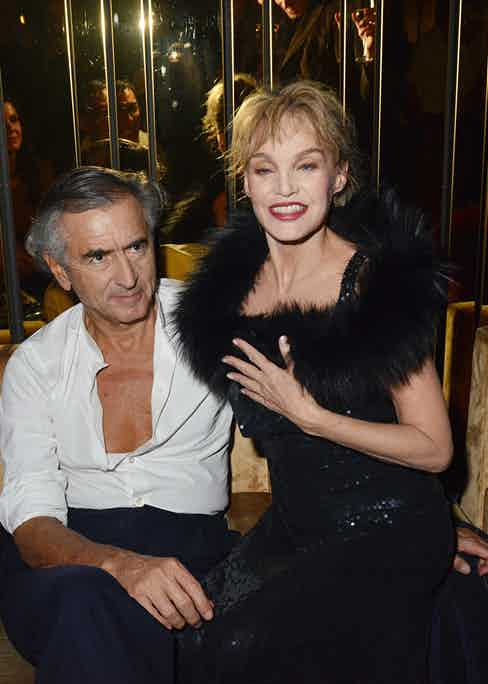 Levy with his wife Arielle Dombasle, during the 'Cheries Cheris' LGBT 20th Festival after party in November 2014.