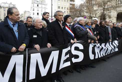 Levy joins crowds paying tribute to victims of the Charlie Hebdo massacre in Paris, earlier this year.