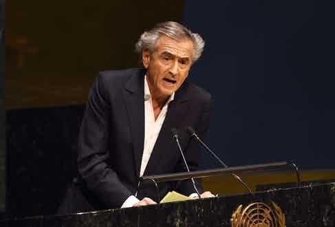 Levy speaking at the United Nations in 2012, addressing concerns about a worldwide rise in anti-Semitic violence.