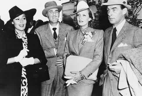 Dolores de Rio, Cedric Gibbons, Marlene Dietrich and Erich Maria Remarque, circa 1955.
