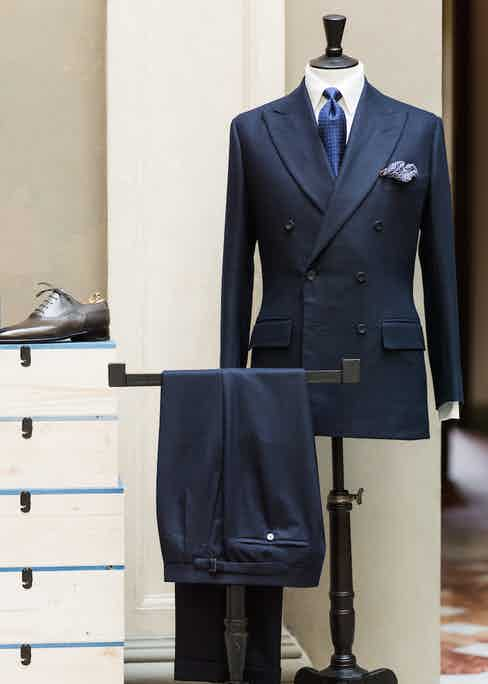 A grey Oxford lace-up compliments Anderson & Sheppard's navy flannel suit perfectly.