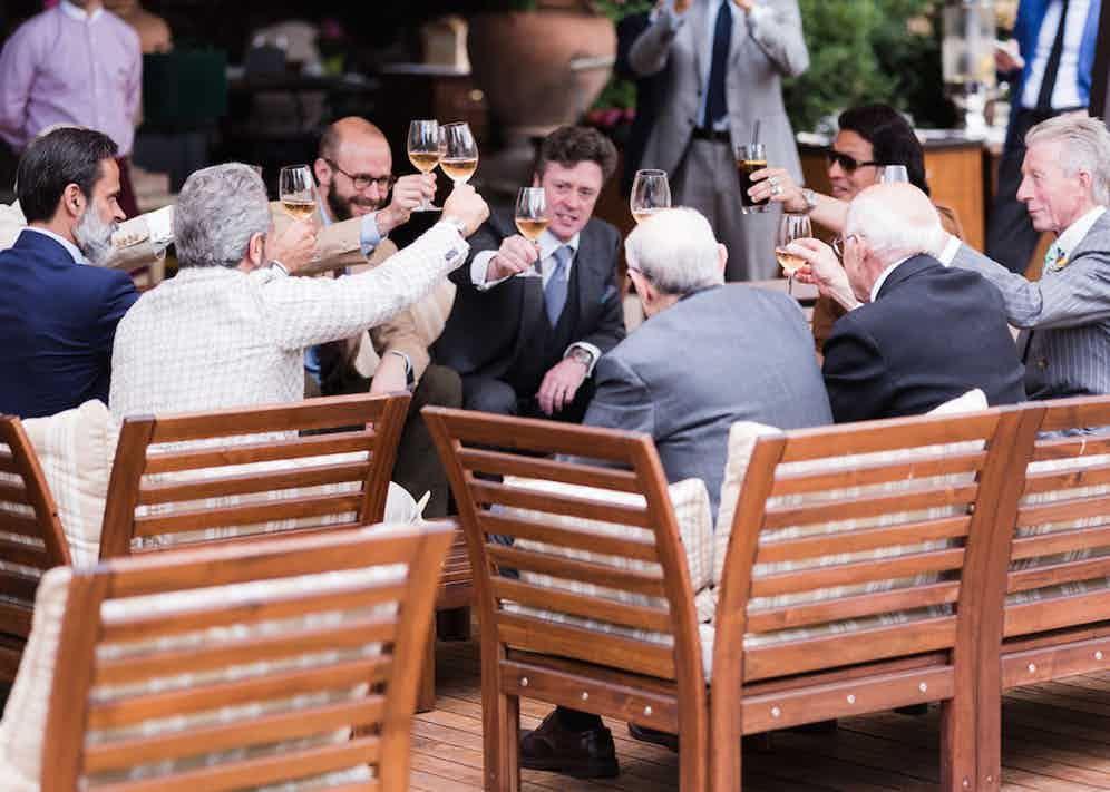 An impromptu toast to the tailor's art.