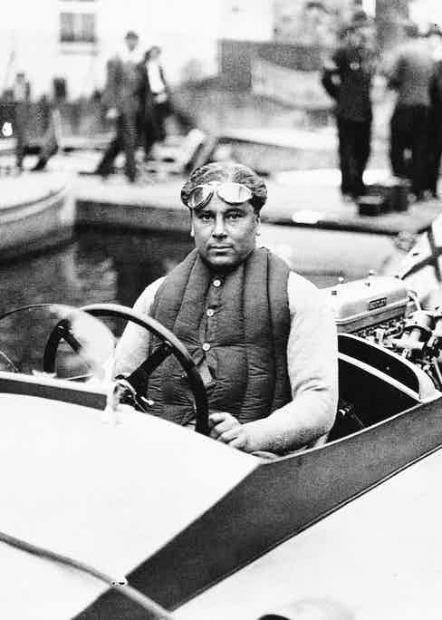 Barnato at the wheel of his power boat, Ardenrun V, competing in a race in 1931.