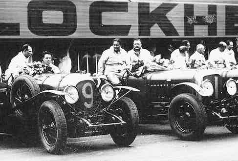 The Bentley team strike a triumphant pose, having taken the top four positions at the 1929 Le Mans, with Barnato second from the left.